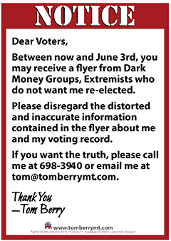 Tom Berry Notice to Voters in Montana